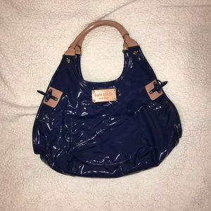 kate spade handbag patent blue leather